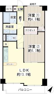 横浜市鶴見区の賃貸マンション ライオンズマンション生麦第5 602号室 間取りです