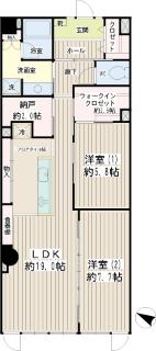 横浜市港北区の賃貸マンション  NICアーバンハイム綱島 202号室 間取りです