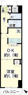 横浜市鶴見区の賃貸マンション ナイスアーバンスピリッツ生麦 302号室 間取りです