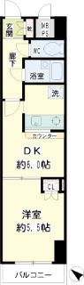 横浜市鶴見区の賃貸マンション  NICEアーバンスピリッツ生麦 802号室 間取りです