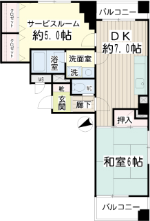 横浜市鶴見区の賃貸マンション ベルカーサ生麦 503号室 間取りです