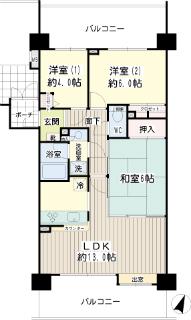 神奈川県藤沢市の分譲賃貸マンション NICE STAGE 湘南鵠沼 604号室 間取りです