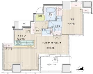 横浜市鶴見区の分譲賃貸マンション ロイヤルタワー横濱鶴見 1010号室 間取りです