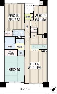 横浜市港北区の分譲賃貸マンション ナイスサンソレイユ日吉 204号室 間取りです