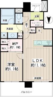 神奈川県川崎市幸区の賃貸マンション クレッセント川崎タワー 2706号室 間取