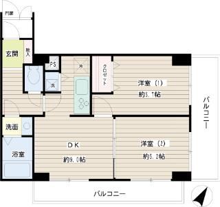 横浜市鶴見区の賃貸マンション グレイスプラザ鶴見 502号室 間取りです