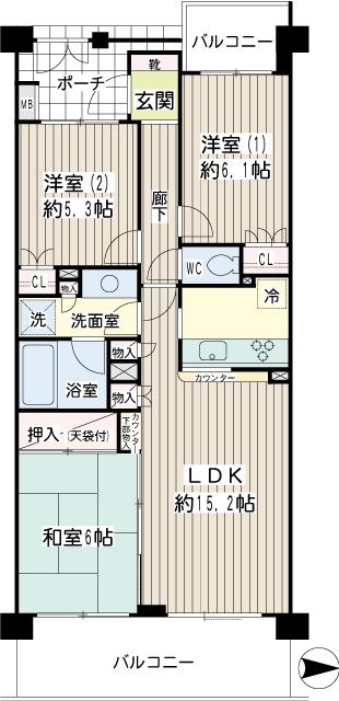 横浜市鶴見区の賃貸マンション ナイスビューリヨン横濱鶴見705号室 間取り図