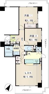 川崎市幸区の賃貸マンション イクス川崎ザ・タワー 608号室間取