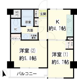 横浜市鶴見区の賃貸マンション 日神パレス鶴見市場 302号室 間取り