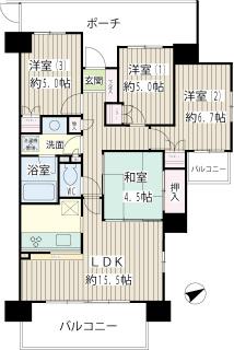川崎市中原区の賃貸マンション ガーデンティアラ武蔵小杉 934号室 間取
