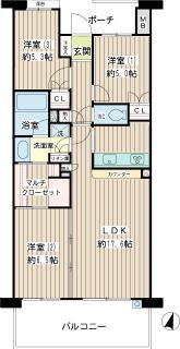 横浜市都筑区の賃貸マンション パークシティLaLa横浜 462号室 間取