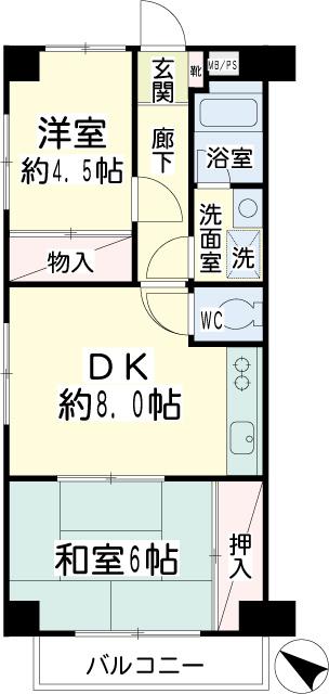 横浜市鶴見区の賃貸マンション グリーンハイツ平安206の間取り