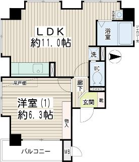 川崎市幸区の賃貸マンション ロンビックレジデンス 201号室 間取りです