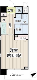 川崎市中原区の賃貸マンション グランイーサ新丸子 601号室 間取り
