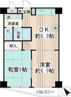 横浜市鶴見区の賃貸マンション エルセレ岸谷 402号室 間取