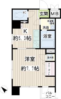横浜市鶴見区の賃貸マンション トモビレッジ 503号室 間取りです